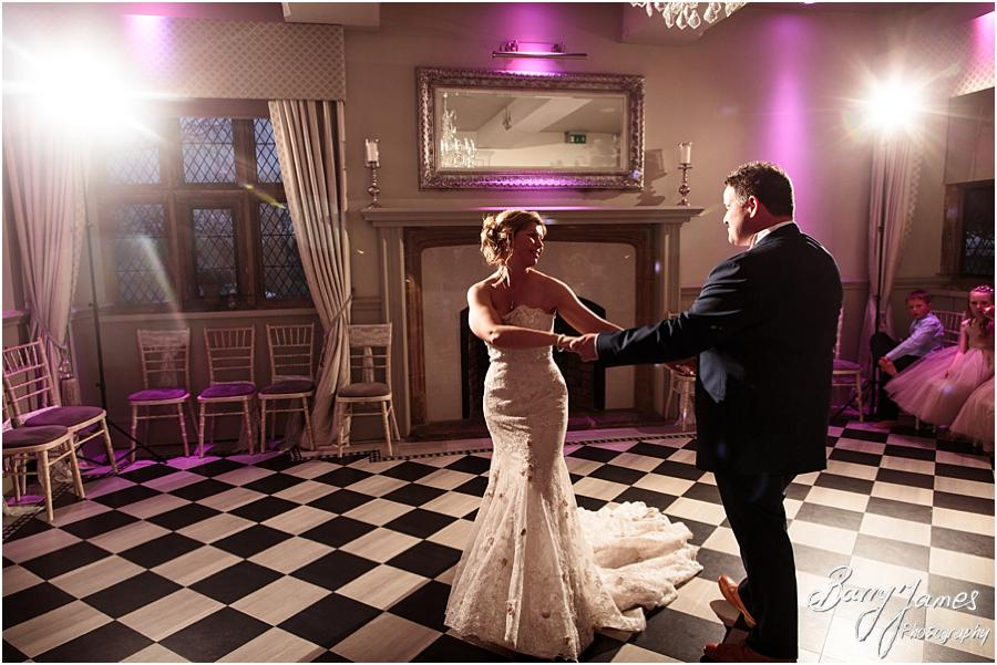 Creative candid photographs of the First Dance at Weston Hall in Stafford by Stafford Wedding Photographer Barry James
