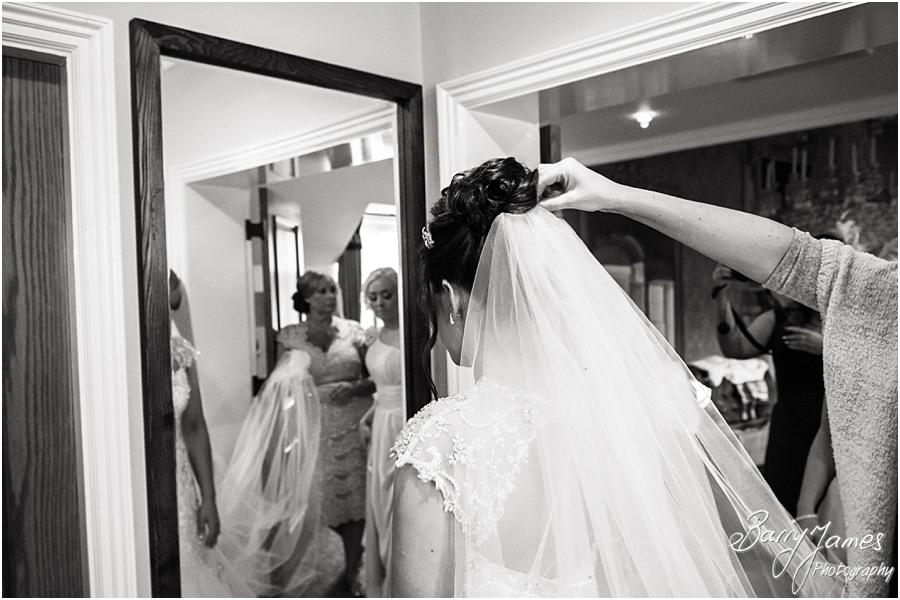 Final preparations of the beautiful bride in her fairytale gown